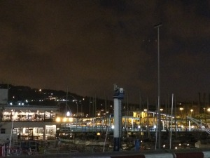 The Barcelona Port at night with out door mall and restaurants