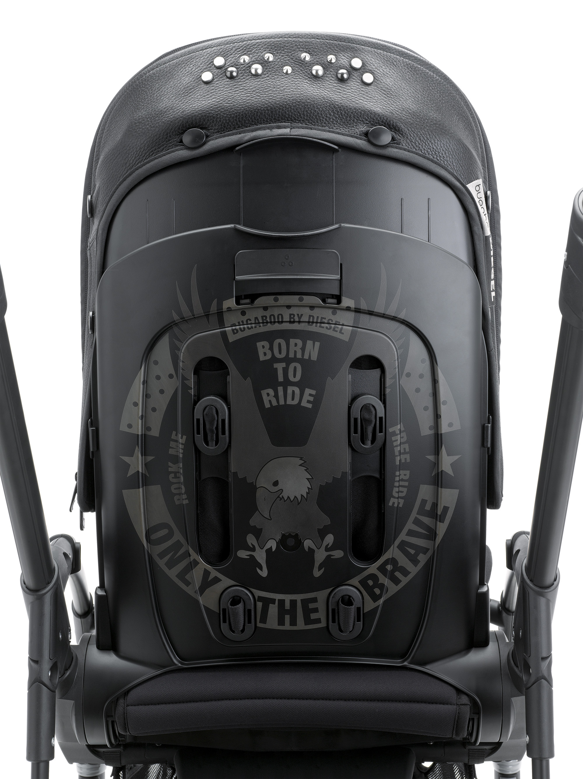 "Diesel's famous Slogan "" Only the Brave"" placed on the back of the backrest"